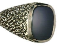 Men's Vintage Black Onyx 14 Karat Yellow Gold Ring Brutalist-Textured Finish with Black Enamel 12.4 Grams Size 10 1/4