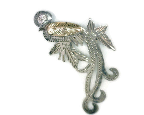 Vintage Quetzal Peruvian Bird Pin 900 Silver Copper 3.73 Grams 1 Inch Wide  2 Inches Long