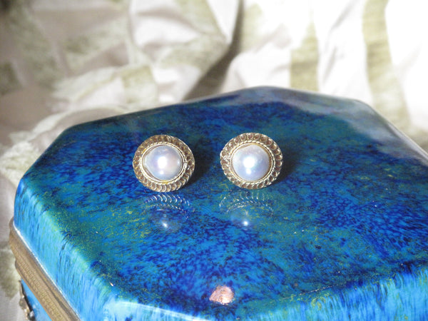Cultured Saltwater White Pearl Post Earrings 11 mm  Baroque Shape Bezel Setting 14 Karat Yellow Gold Filigree 3/4 Inch Round