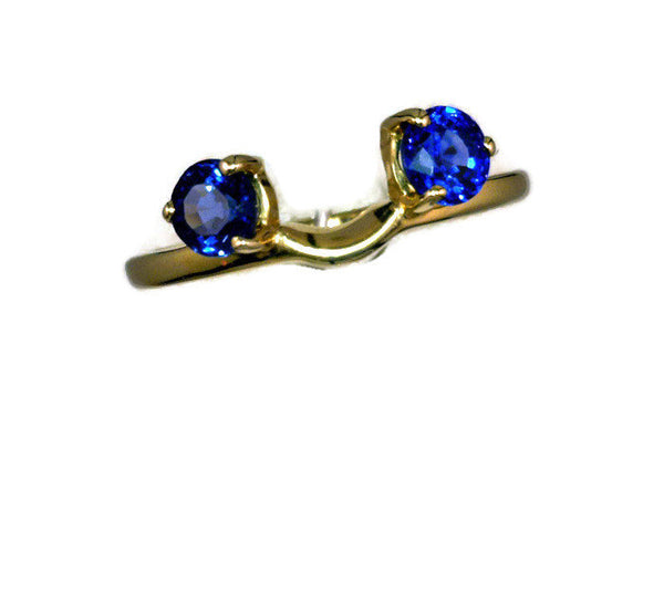 Shadow Band 14 Karat Yellow Gold 2 Synthetic Round Periwinkle Blue Sapphire 5.5 mm Enhancer Band 2.3 Grams Size 7