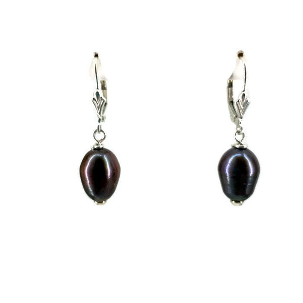 Cultured Freshwater Pearl Dangle Drop Earrings Black Tear Drop Shape Sterling Silver 14 mm 1 1/4 Inches Long