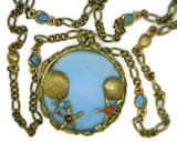 Turquoise Medallion Set in 7 Karat Yellow Gold 43 mm Round Seascape Bezel features Sea Horses Sea Shells Star Fish_Suspends on Figaro Style and Sea Shell Links Chain_14 Dwt_24 Inches Long