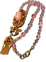 Victorian Revival Gold Plaque with Pink Opal Glass Stone Fox-Tail Tassel Pendant Necklace Amethyst and Pink Cut Glass Beads 24 Inches Long