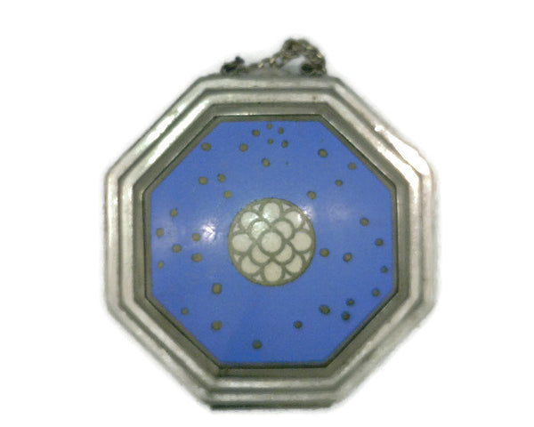 Richard Hudnut Cloisonne' Enamel le Debut Compact Octagonal Shape Blue Base White Center Flower Silver Dots Original Finger Chain