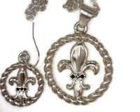 Fleur de Lis Dangle Drop Earrings Sterling Silver Open Twisted Rope Frame 6 Round 1 mm Black Diamonds 7.5 Grams 3/4 Inches Circumference