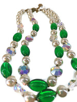 Lisner Mid-Century Faux White Pearl Aurora Borealis Crystal Emerald Green Bead 2-Strands Necklace 61 Grams 15 Inches Long 4 Inches Extension Chain