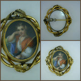 Antique Miniature Porcelain Portrait Pin 12 Karat Gold Ornate Frame Hand Painted Man with Red Vest Holding a Staff 24.2 Grams 2 Inches Long