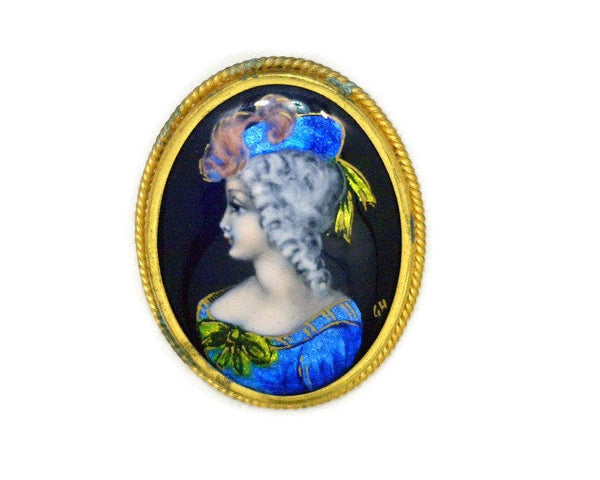 Vintage French Limoges Enamel Pin Signed Lady in Blue with Feathers in Hat Hand Painted Stamped Made in France 1 1/2 Inches Wide 2 Inches Long