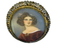 Antique Miniature Portrait Pin Women with Piercing Blue Eyes Stamped 800 Two-Tone Filigree Frame 12 Grams 1  1/2 Inches Wide 2 Inches Long
