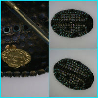 Yves Saint Laurent Lady Bug Brooch Vintage Black and Midnight Blue Rhinestones 1 3/4 Inches Wide 2 1/4 Inches Long