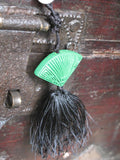 Vintage Black Jet Bead Tassel Necklace Green Cinnabar Fan Pendant Rose Quartz Black Silk Tassel Genuine Faceted Jet 27 Inches Long