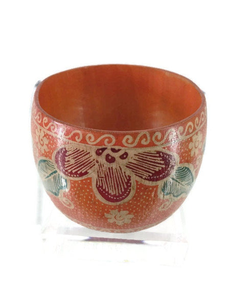 Butterfly Orange Cuff Bracelet Balinese Wood Painted Purple Red Flower 2 Inches Wide 7.5 Inches Circumference