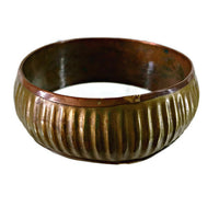 Vintage Brass and Copper Ribbed African Bracelet Mid-20th Century 36.55 Grams 1 1/4 Inches Wide 8 Inches Inside