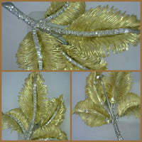 Vintage Diamond 18 Karat Two Tone Gold Leaf Pin Made in Italy 8 Grams 2 Inches Wide 2.4 Inches Long