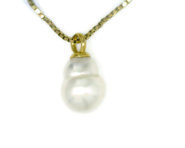 "Cultured Saltwater White Pearl Pendant 18 Karat Yellow Gold Paspaley Pearl Fine Circle ""The Snowman"" 12-15 mm Wide 20 mm Long"