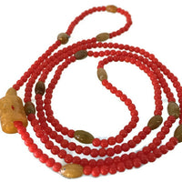 Jade Vivid Red Glass Bead Necklace Mid Century Japanese 3 mm Round Yellowish Brown 7 mm Lozenge 9.2 Grams 30 Inches Long