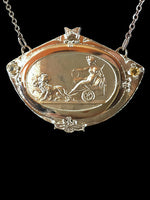Rhea Goddess Pendant Necklace Lions Pull Her Chariot Bronze Sterling Silver Chain 2 Rose-cut Round Garnets 24 Grams 18 Inches Long