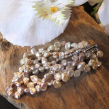 Cultured Freshwater Pearl 3-Strand Bracelet Creamy Peach Pale Pink White Keshi Pearls Secure Sterling Silver Saber Clasp 1 1/2 Inches Wide  7 1/4 Inches Long