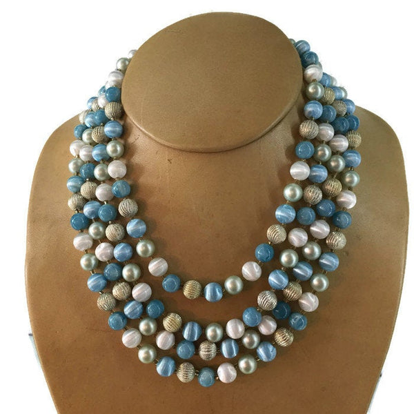 Blue Mint Green and Matte Gold Round Glass Bead Multi Strand Necklace 1950's Made in Japan 16, 17, 18, 19 Inches Long 3 Inches Long Extension Chain