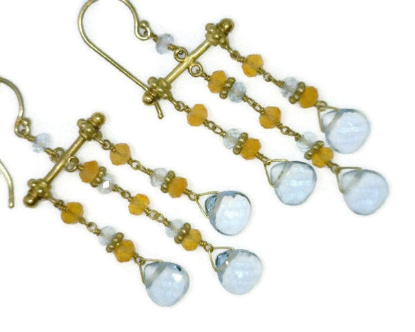 Aquamarine Briolettes Citrine Chandelier Earrings 14 Karat Gold Celebrity Owner Kathy Bates 6.69 Grams 1/2 Inch Wide 2 Inches Long