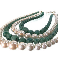 Mid-Century Hong Kong Faux Green Jade and White Pearl 4 Strands Glass Bead Necklace 11-13 mm Round 17 Inches Long 2 Inches Extension Chain