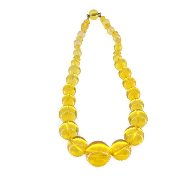 Yellow Round Bead Choker Mid 20th Century Translucent Plastic 15 mm to 6 mm Beads 39.9 Grams 15.5 Inches Long