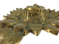 "Sunflower with Bee Ink Well Ormolu or Gold-leafed Brass, 20th Century Casting 525 Grams 6"" Wide, 2"" Deep, 8"" Long"