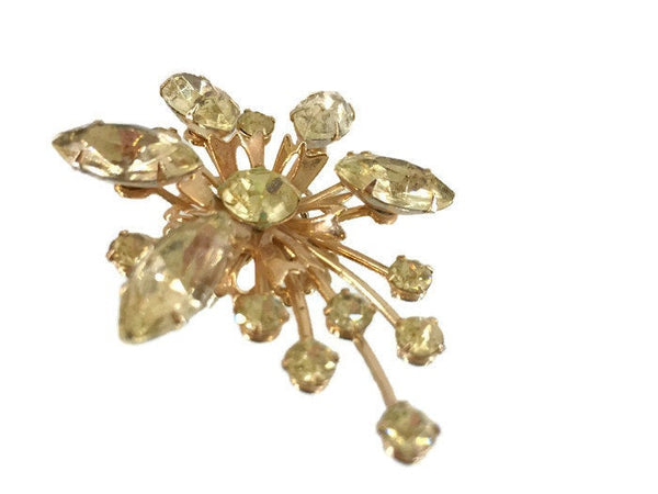 Vintage Yellow Diamond Color Rhinestone Celestial Brooch Marquise and Round-cut stones with Hand set Metal Prongs Gold Patina 1 1/2 Inches wide 2 1/4 Inches Long