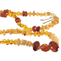 Long Amber Single Strand Necklace 14/20 Gold-filled Clasp Vintage Golden Amber Beads Yellow Transparent Nuggets Creamy Opaque Chips 27 Grams 28 Inches Long