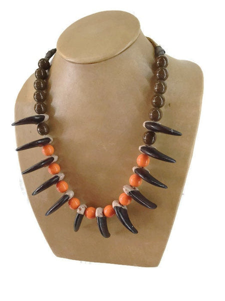 Bear Claws Orange Brown Crow Bead Necklace Vintage Native American 12 Wood Carved Claws 29 1/2 Inches Long