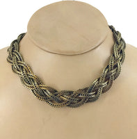 Gold Metal Braided Flat Snake Chain 4-Strands Choker Necklace Stamped Sandor 1 Inch Wide 17 Inches Long