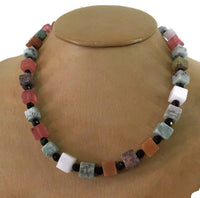 Vintage Gemstone Bead Necklace Cubes of Jasper Quartz Black Round Beads Signed 19 Inches Long