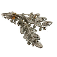 Three-Dimensional Floral Design Brooch Clear Foil Back Rhinestones Marquise Round Hand-set Metal Prongs 1 1/2 Inches Wide 2 1/4 Inches Long