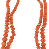 Mediterranean Sea Red Coral Round Bead Two Strands Necklace Vintage 6-4 mm Beads 14 Karat Gold Diamond Clasp Spacer Bars 31.4 Grams 16 Inches Long