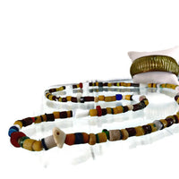 Vintage African Mixed Trade Bead Single Strand Necklace 135 Beads Yellow Brown White Assorted Beads Shapes Snake Vertebrae Bone 33 Inches Long