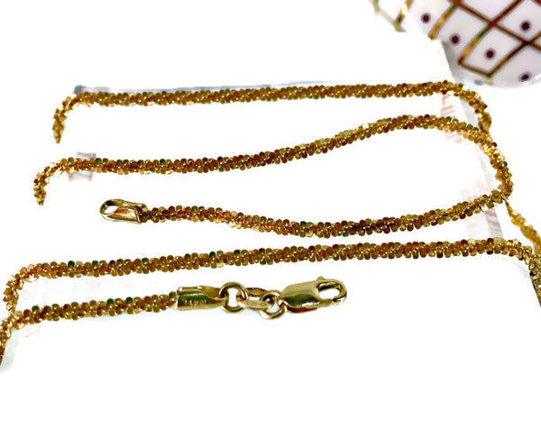 Yellow Gold Chain Necklace 14 Karat Popcorn Style Diamond Cut 2 mm Thick 2 mm Wide 5.9 Grams Lobster Claw Clasp 20 Inches Long