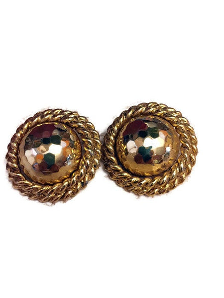 Vintage Golden Round Clip On Earrings Double Rope Frame Hammered Stamped E PEARL 1 earring weight is 24.7 Grams 1 1/2 Inches