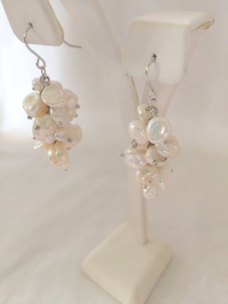 White Keshi Cultured Freshwater Pearl Cluster Dangle Earrings Sterling Silver 1 3/4 Inches Long