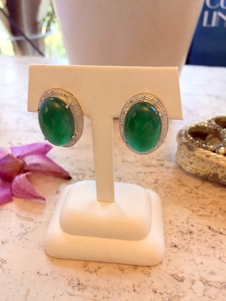 Green Jade Diamond  Earrings 14 K White Gold Oval 13 mm x 18 mm Jade Cabochon 24 Round Diamonds 0.24 CTW 13.2 Grams 17 mm Wide 22 mm Long