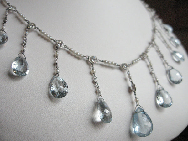 Edwardian Fringe Necklace Platinum Aquamarine Diamond and Seed Pearls Aquamarine 16.70 ctw Diamond 2.30 CTW 9.33 Grams 16 Inches