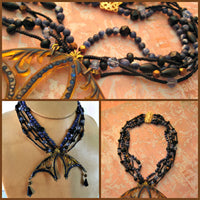 Faux Tortoise Shell Pendant 4-Strand Bead Necklace Black Coral Blue Crystals Jet Lapis Lazuli 17 Inches Long