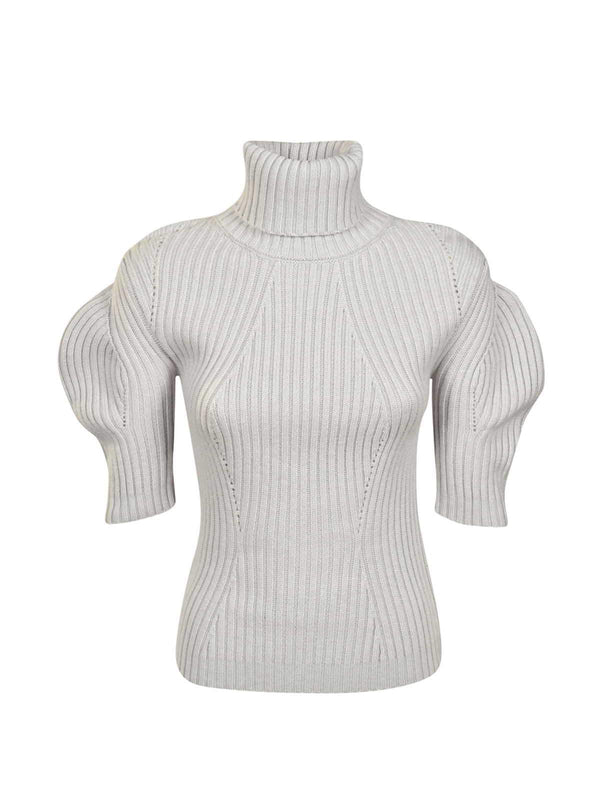 TURTLENECK KNITWEAR WITH PUFF SLEEVES