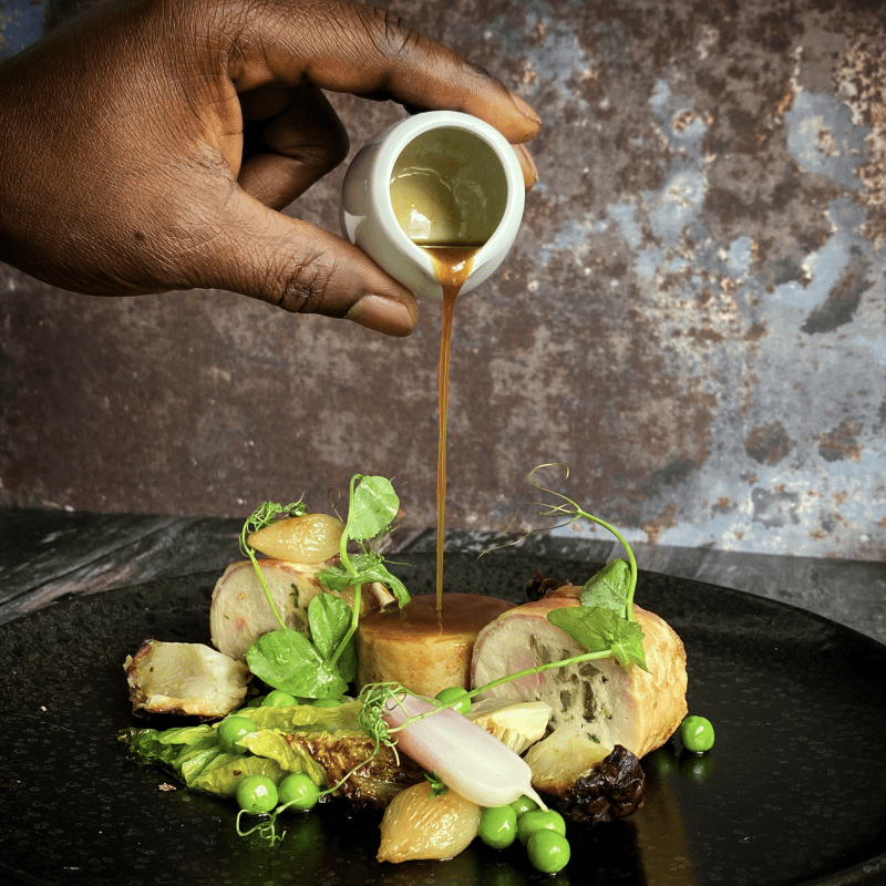 Corn fed Chicken Ballotine stuffed with mushroom farce & wrapped in pancetta - Butter roasted Jerusalem artichoke - Braised Baby gem lettuce & garden pea's