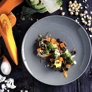 One Fine Dine Spiced Coconut and Butternut Puree with Braised Puy Lentils