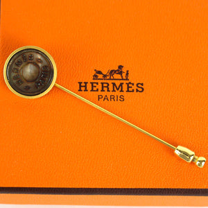 HERMES Sellier Clou de Selle Hat Pin Brooch Stick Gold Tone Brown Shell with Box