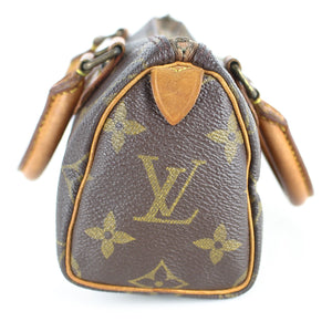 LOUIS VUITTON MINI SPEEDY Old Model Hand Bag Pouch Purse Monogram with Shoulder Strap