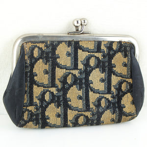 CHRISTIAN DIOR Vintage Trotter Canvas Kiss Lock Coin Purse Wallet Mini Pouch Black
