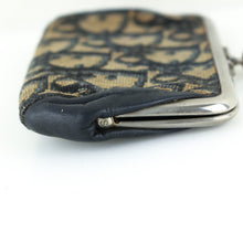 Load image into Gallery viewer, CHRISTIAN DIOR Vintage Trotter Canvas Kiss Lock Coin Purse Wallet Mini Pouch Black