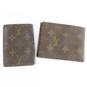 LOUIS VUITTON Monogram Vintage Card Case ID Holder & Vintage Bifold Wallet 2 Pieces Set