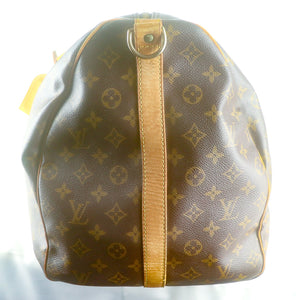 LOUIS VUITTON KEEPALL 60 Bandouliere Boston Travel Bag Purse Monogram M41412 Brown
